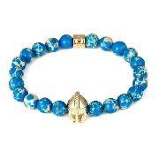 Pulseira Masculina Pedras Jade Azul Capacete Guerreiro Ouro