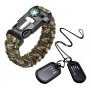 Kit Pulseira Paracord Camuflada Original + Dog Tag Exercito