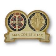 Adorno Porta Parede Medalha Cruz São Bento Abençoe Este Lar