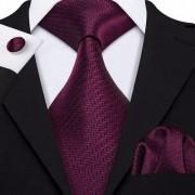 Gravata Seda Italiana Vinho Especial Luxo Noivo +lenço +bots