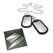 Cartão Canivete + Colar Dogtag Identificação Soldado Militar