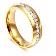 Anel Aliança Dourado Zircônias Banhado A Ouro C/ Garantia
