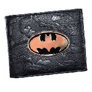 Carteira Masculina Batman Escudo Metal Detalhe 3d Slim Preta
