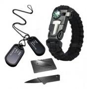 Kit Militar Dog Tag Exercito + Cartão Canivete + Paracord