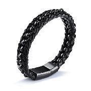 Pulseira Masculina Black Luxo Couro E Aço Negro C/ Garantia