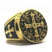 Anel Masculino São Bento Dourado Cruz Sagrada Aço 316l Ouro