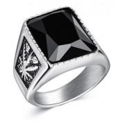 Anel Pedra Cristal Negro Tamanho Masculino Aço 316l Prateado