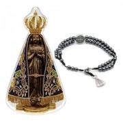Kit N Senhora Aparecida Adesivo Alto Relevo +pulseira Pedras