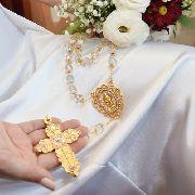 Terço De Casamento Rosário Noiva Pedras Grandes Cristal 12mm