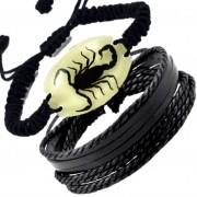 Kit Pulseira Escorpião Verdadeiro na resina real florescente
