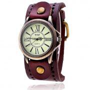 Relógio elegante Masculino Vintage Couro numeros Romanos