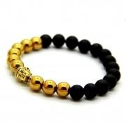 Pulseira De Luxo Dourada Pedras Onix 8mm Rosto Buda Bolinhas