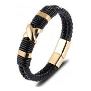 Pulseira Executiva Masculina Couro Bracelete Luxo Cruz Aço