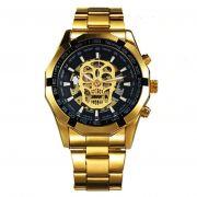 Relógio Top Winner Automático Corda Skeleton Caveira Dourado