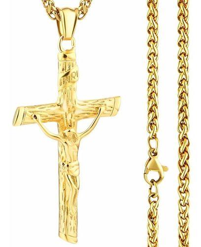Colar Cruz Crucifixo Dourado Jesus Folheado Ouro C/ Garantia