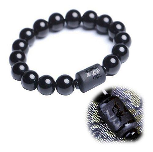Pulseira Phoenix Pedras Onix 12mm Negras Moda Luxo Bolinhas