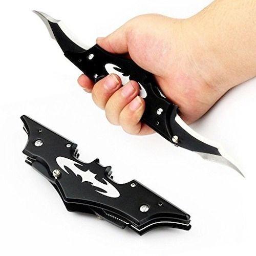 Canivete Batman Original 2 Lâminas Preto 19cm Faca Batrang