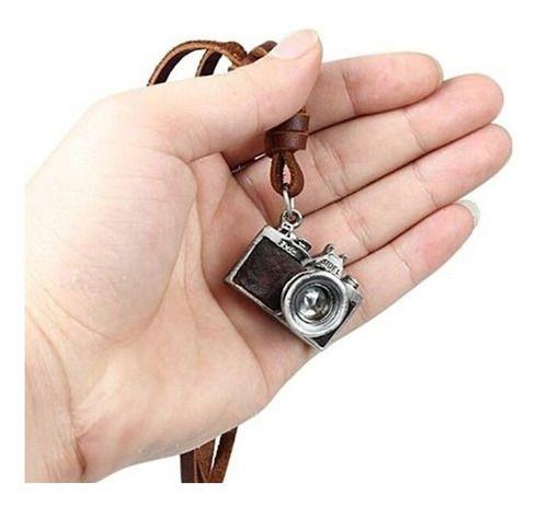 Colar Câmera Maquina Fotográfica Cordão De Couro Ajustável