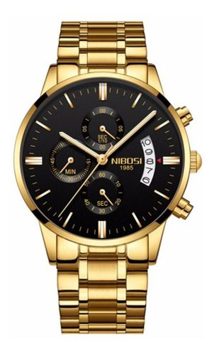 Relógio Masculino Suiço Nibosi Dourado Cronógrafo Original