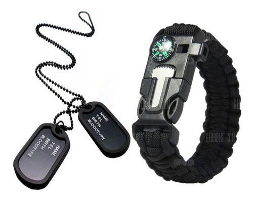 Kit Militar Pulseira Paracord Preta + Colar Dog Tag Exército