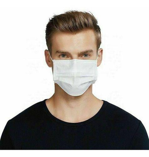 Kit 20 Máscaras Proteção Facial Tnt Branca Clipe E Elástico