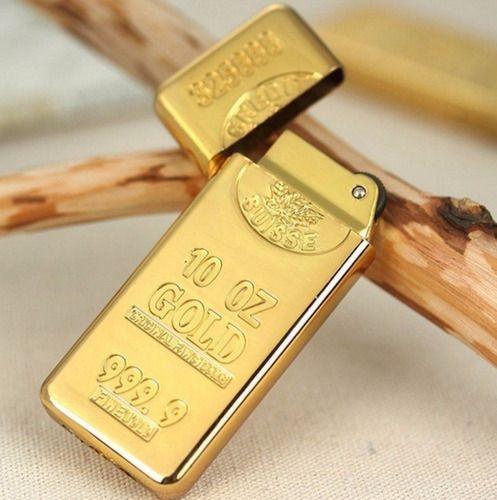 Isqueiro Barra De Ouro Modelo Luxo Estiloso Recarregável Gás