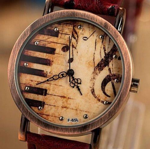 Relógio Musical Piano Couro Avestruz Moda Retrô Garantia
