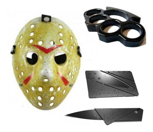 Kit Máscara Jason Original + Soco Inglês + Cartão Canivete