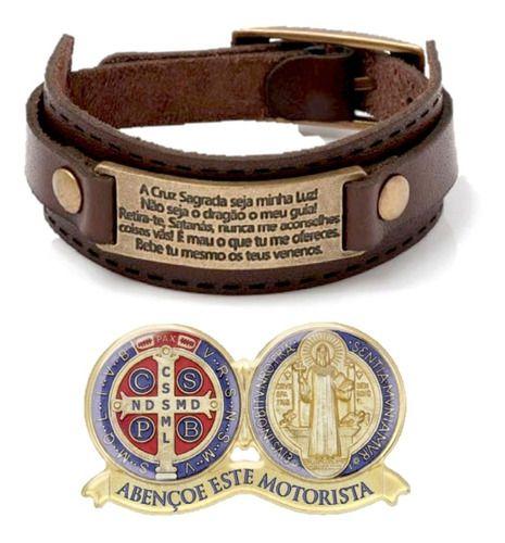 Pulseira Couro Oração Cruz Sagrada São Bento + Adesivo Carro