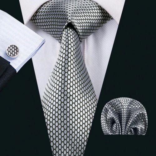 Gravata Seda Italiana Cinza Classica Noivo Luxo +lenço +bots