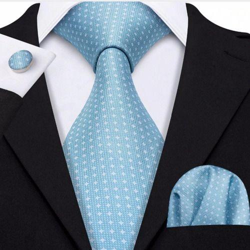 Gravata Luxo Seda Italiana Azul Padrinho Noivo +lenço +bots