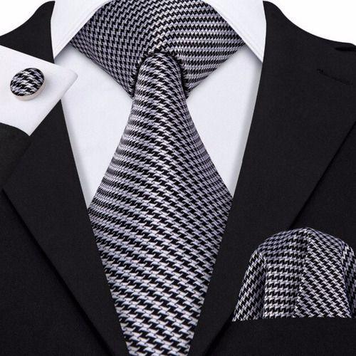 Gravata Seda Italiana Cinza Luxo Classica Noivo +lenço +bots