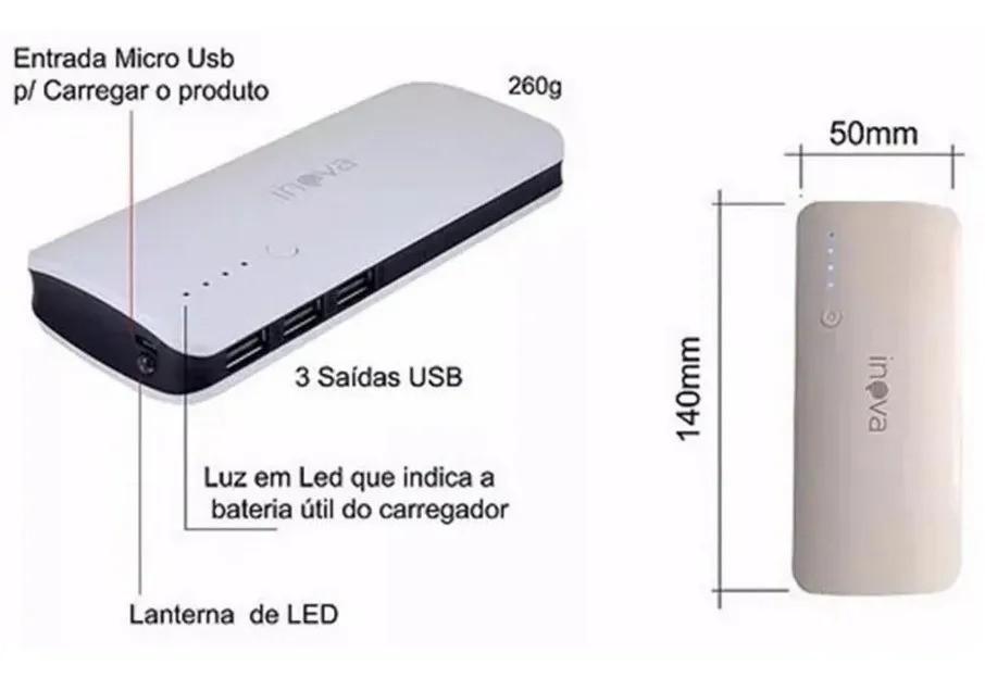 Carregador Portátil Universal Power Bank 10000mah Inova
