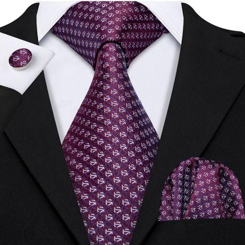 Gravata Seda Italiana Roxo Violeta Noivo Luxo +lenço +bots