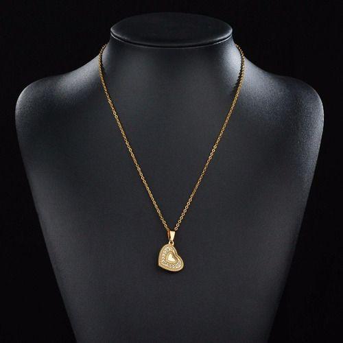 Colar Dourado Coração Strass Brilho Eterno Banhado A Ouro