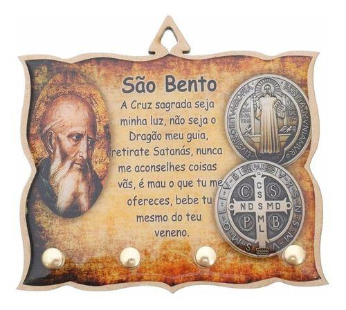 Porta Chaves Chaveiro Parede Mdf Resinado Cruz De São Bento