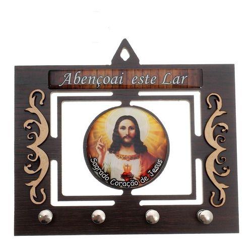 Porta Chaves 3d Chaveiro Mdf Resinado Sagrado Coração Jesus