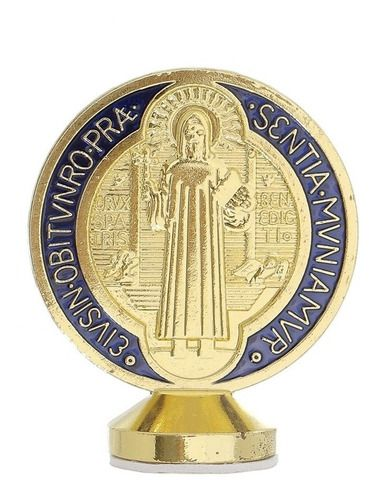 Pedestal Cruz Sagrada São Bento Dourada Enfeite Painel Carro