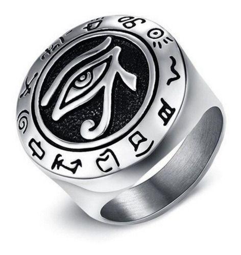 Anel Masculino Olho De Hórus Aço 316l Talismã Viking Egípcio