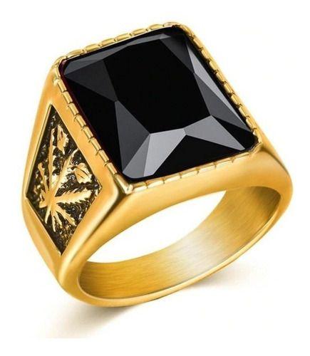 Anel Masculino Dourado Pedra Cristal Negra Tamanho Aço 316l