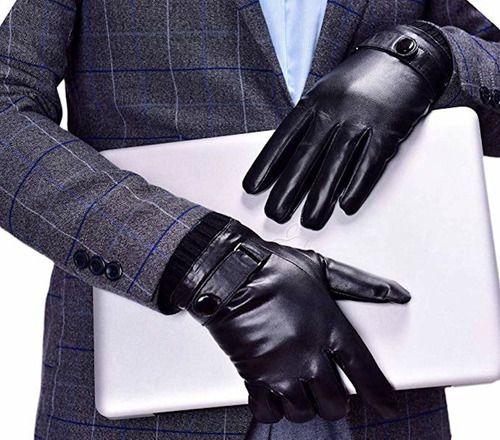 Luvas Pretas Par Social Executiva Luxo Couro Touch Inverno