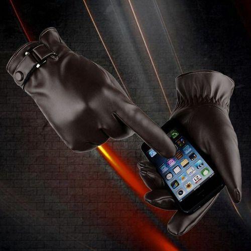 Luva Executiva Masculina Marrom Frio Luxo Couro Touchscreen