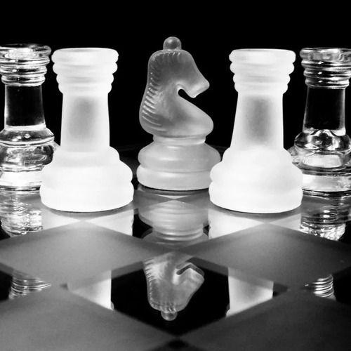 Jogo de vidro fosco Tabuleiro de Xadrez decoração executiva