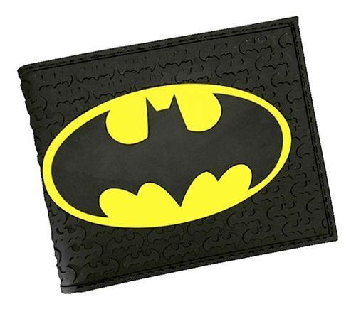 Carteira Masculina Do Batman Detalhes 3d Preta Tamanho Slim