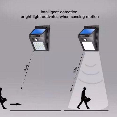 4 Luminária Solar Original Refletor 20 Leds Sensor Movimento