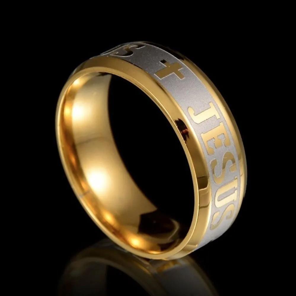 Anel Aliança Jesus Aço 316l Banhado Ouro Evangélico Católico