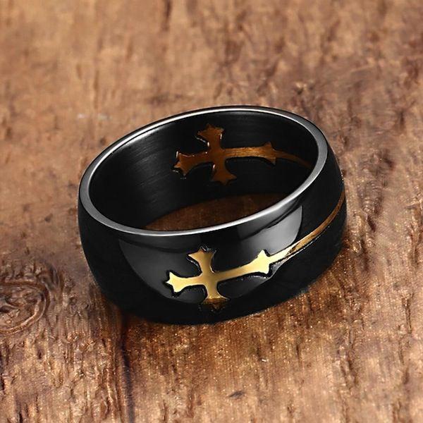 Anel Cruz Dourada Aliança Religiosa Luxuoso Preto Tamanho