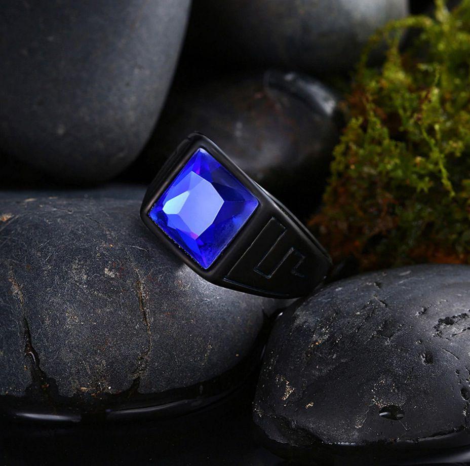 Anel Luxo Aço Titânio Original Preto Vidro Azul Hip Hop