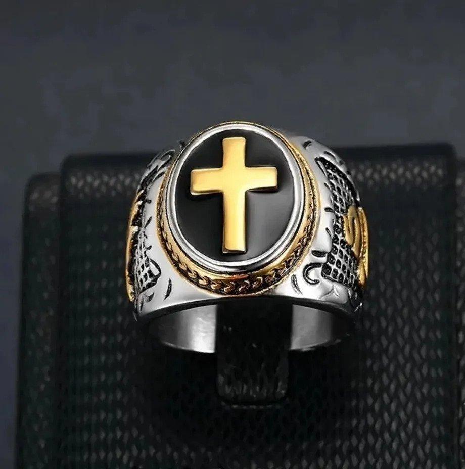 Anel Masculino Cruz Dourada Católico Espírito Santo Aço 316l