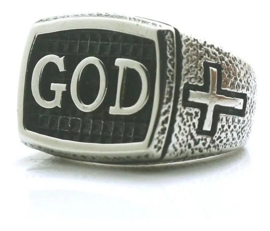 Anel Masculino Executivo God Deus Aço 316l Cristão Tamanho